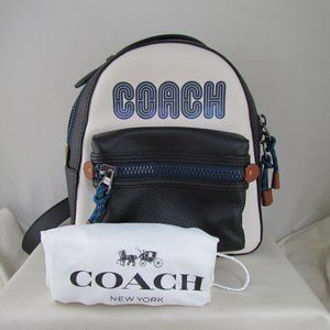 Coach Pebbled Leather Blue Black White Backpack